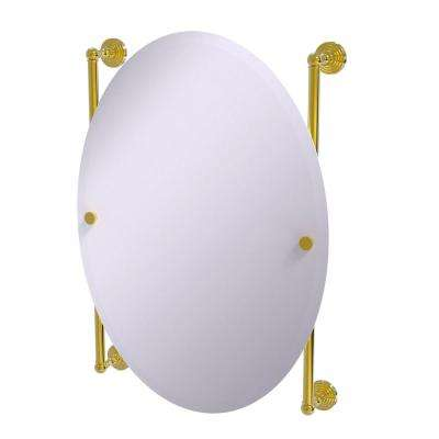 Waverly Place Collection Oval Frameless Rail Mounted Mirror in Polished Brass