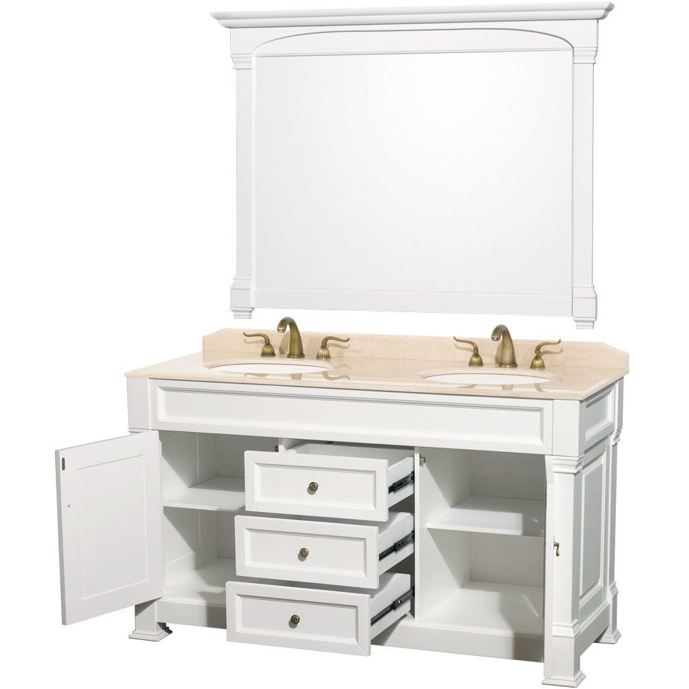 Andover 60 in. Double Vanity in White with Marble Vanity Top