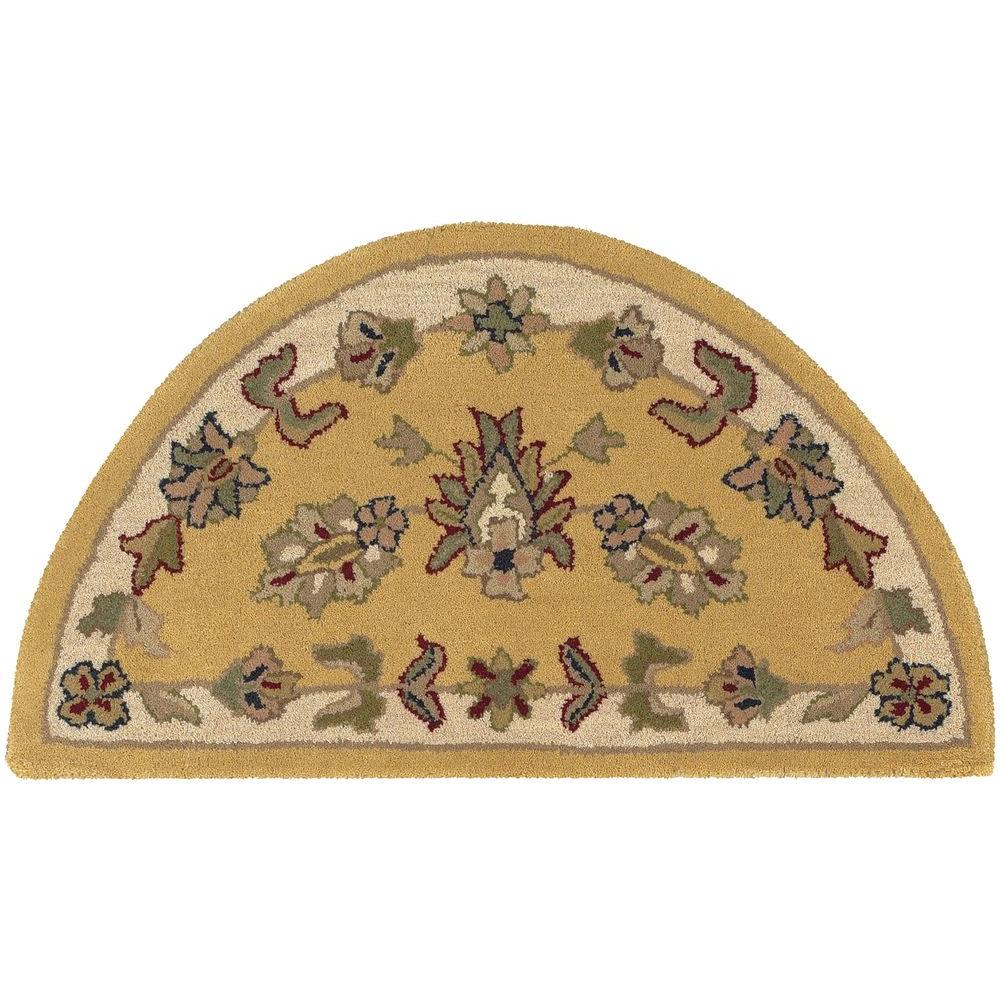 LR Resources Shapes Gold/Ivory Half Moon 2 ft. 3 in. x 3 ft. 10 in. Traditional Indoor Area Rug