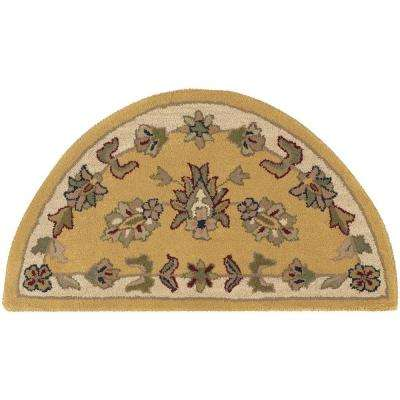 Shapes Gold/Ivory Half Moon 2 ft. 3 in. x 3 ft. 10 in. Traditional Indoor Area Rug