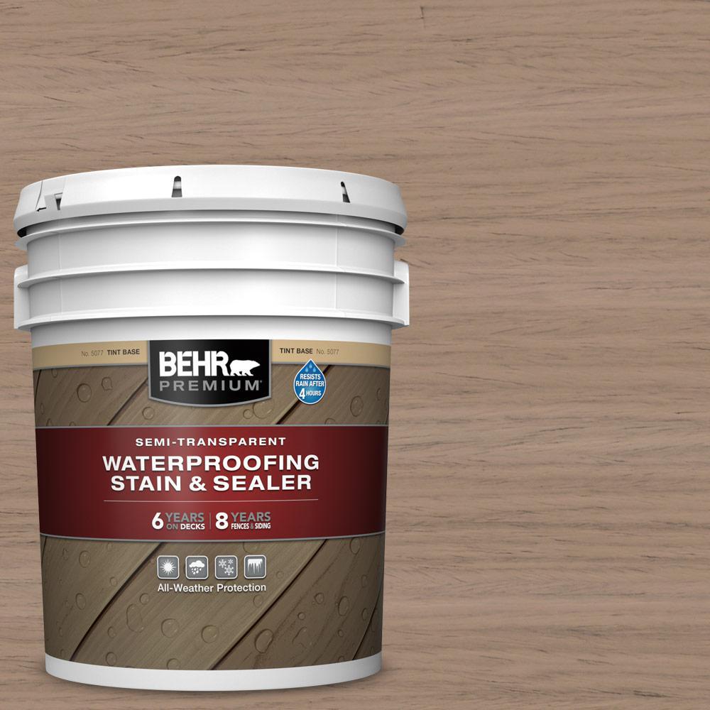 BEHR PREMIUM 5 gal. #ST-160 Rose Beige Semi-Transparent Waterproofing Exterior Wood Stain and Sealer