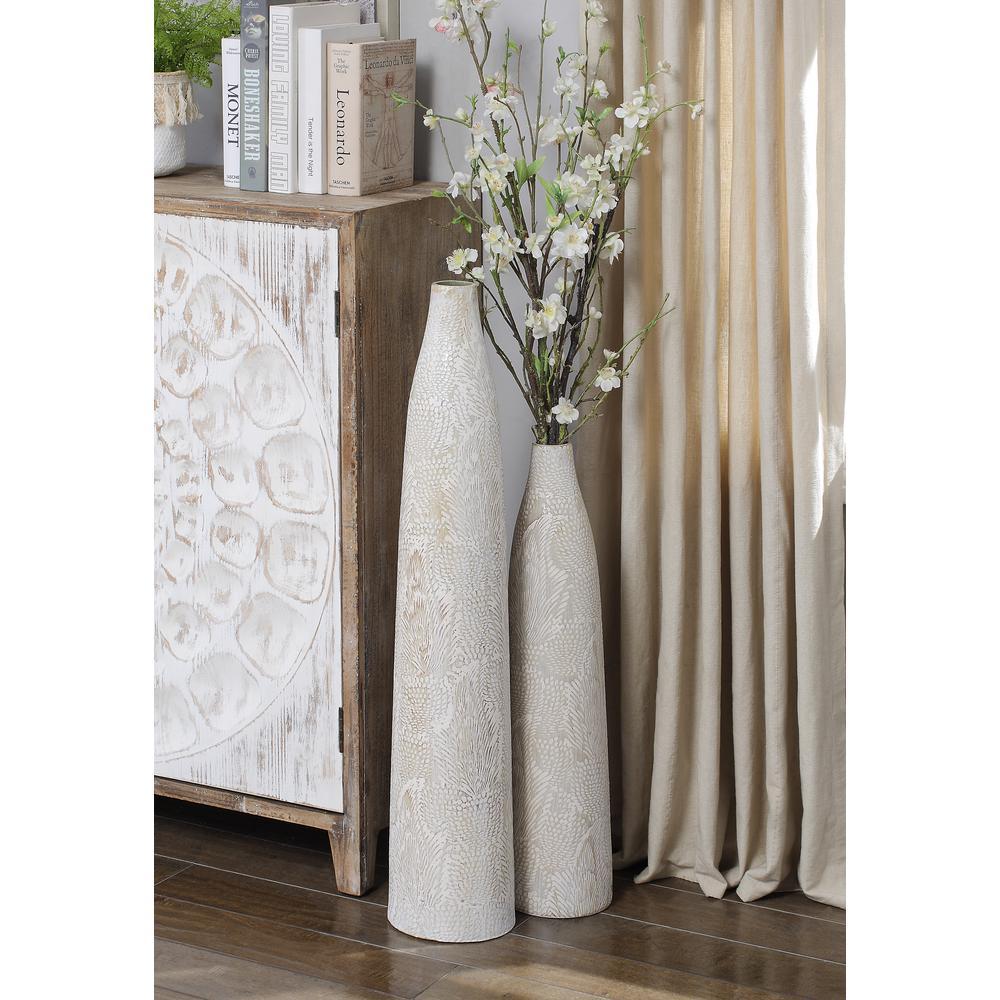 Irridescent Silver 23.25'' Small Oversized Ceramic Vase