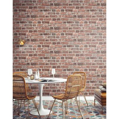 ... Distressed Red Brick Peel and Stick Wallpaper