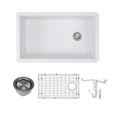 Radius All-in-One Undermount Granite 32 in. Single Bowl Kitchen Sink in White