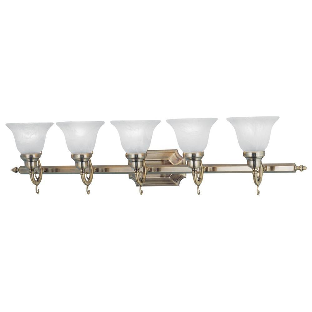 Livex Lighting 5-Light Antique Brass Bath Light with White Alabaster Glass