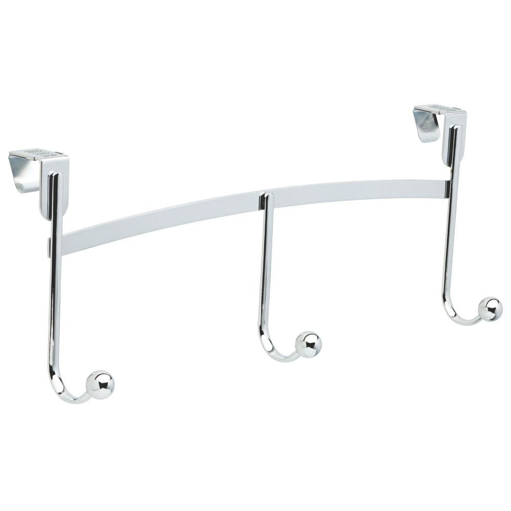 Liberty Lillington 17 in. Chrome Adjustable Ball End 10 lbs. Over the Door Hook Rack