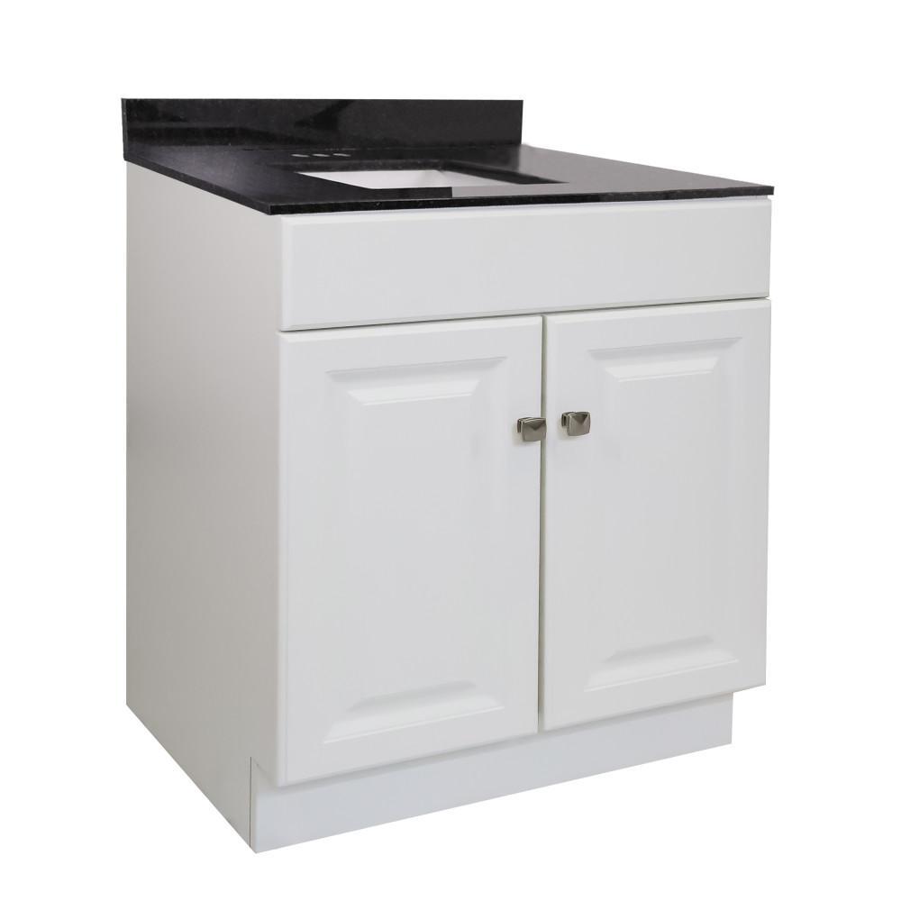 30 in. x 21 in. x 31.5 in. 2-Door Bath Vanity in White w/ Black Pearl Granite Vanity Top w/ Rectangle Basin in White