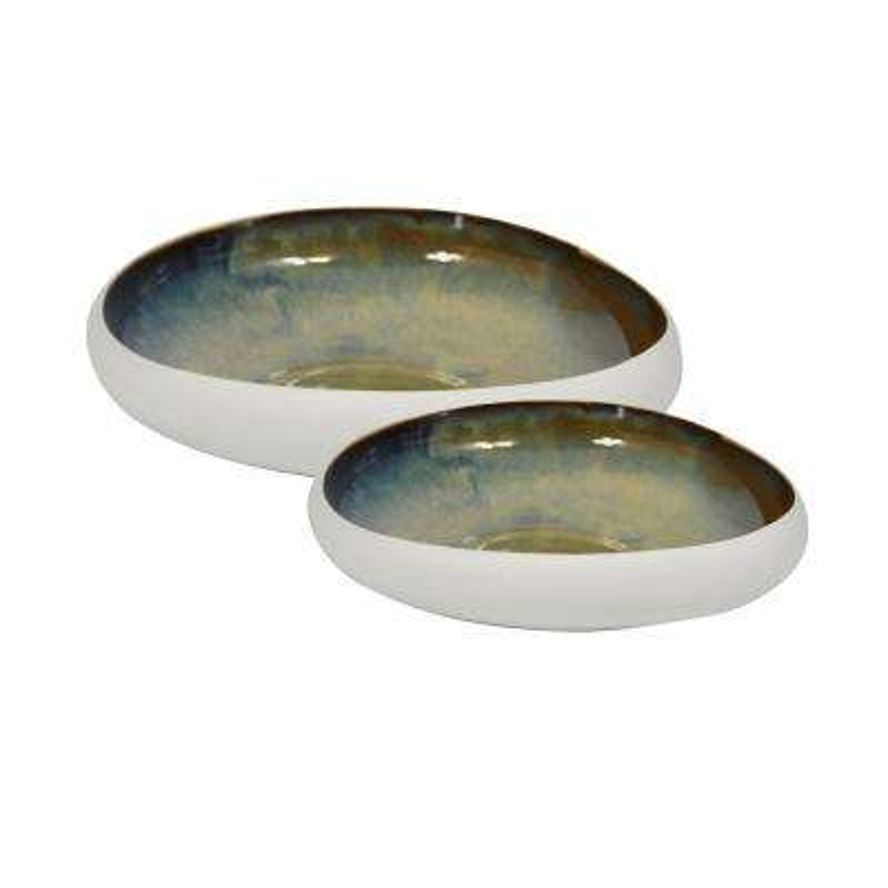 12/15 in. White/Green Ceramic Bowls (Set of 2)