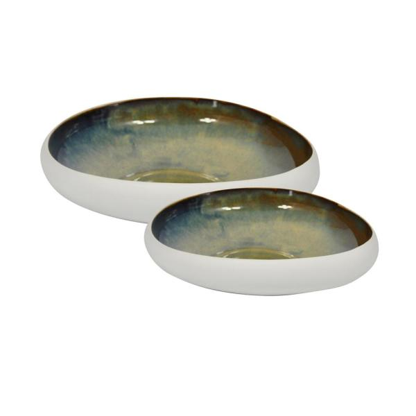 Sagebrook Home 12 15 In White Green Ceramic Bowls Set Of 2