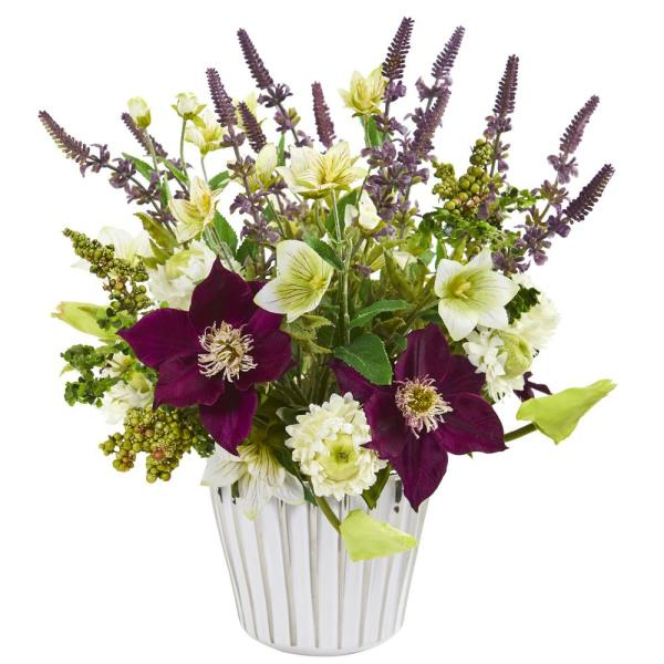 Nearly Natural Mixed Artificial Flower Arrangement In Decorative Vase 1920 The Home Depot