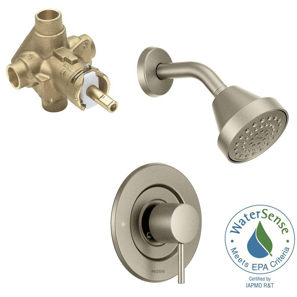 Align Single-Handle 1-Spray Shower Faucet Trim Kit with Valve in Brushed