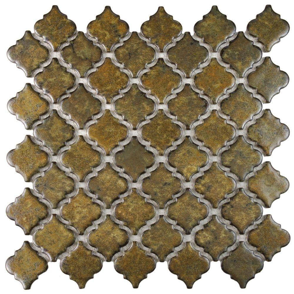 Hudson Tangier Brownstone 12 in. x 12 in. Porcelain Mosaic Tile (10.96 sq. ft. / Case)