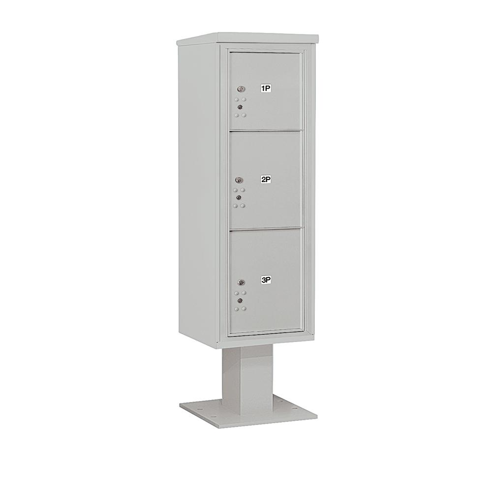 3400 Horizontal Series 3-Parcel Locker Pedestal Mount Mailbox