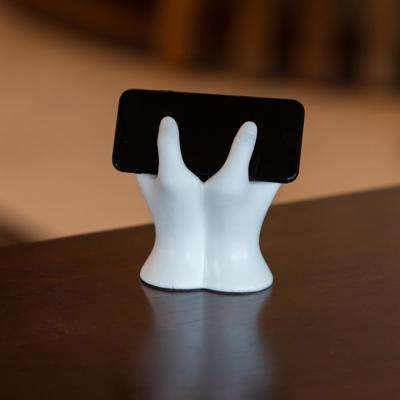 Hands White Resin Mobile Device Holder