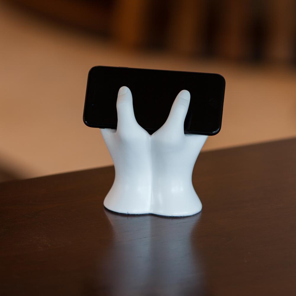 Hands White Resin Mobile Device Holder