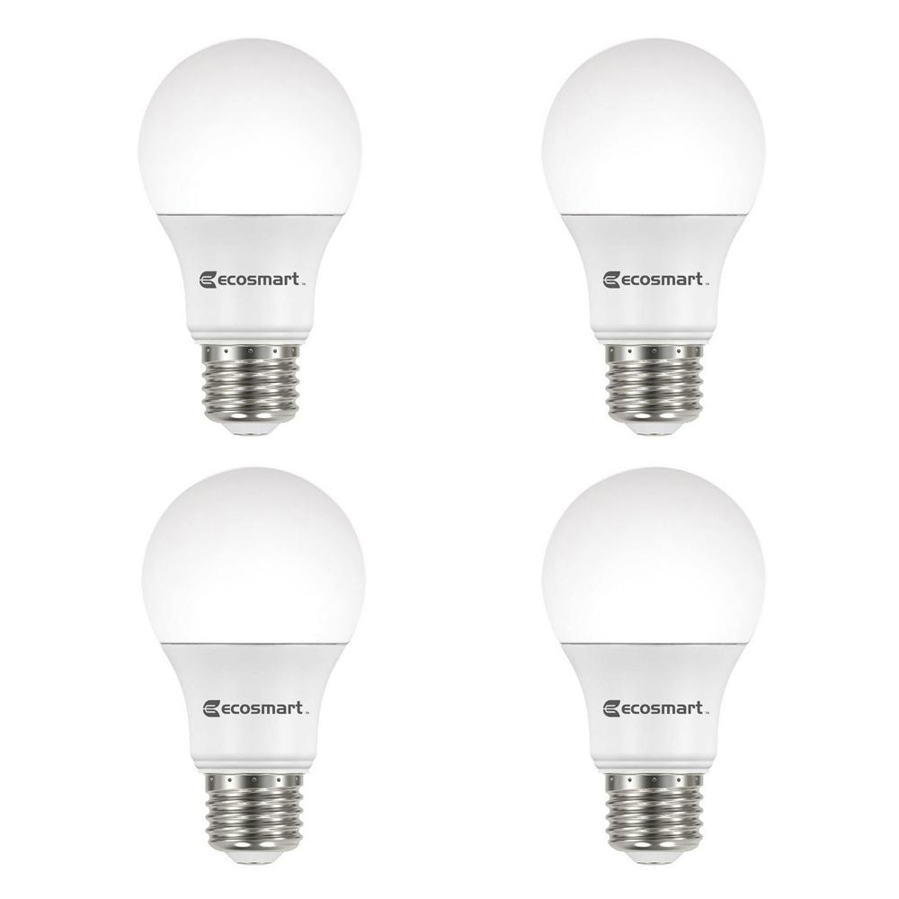 EcoSmart 60-Watt Equivalent A19 Dimmable Energy Star LED Light Bulb Soft White (4-Pack)