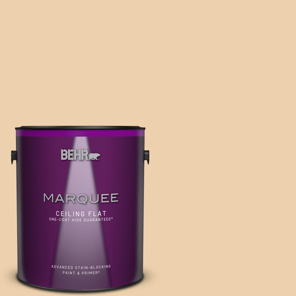 1 gal. #MQ3-43 Ceramic Beige One-Coat Hide Ceiling Flat Interior Paint and Primer in One