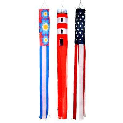 60 in. Summer Season Windsocks - Flowers, Lighthouse and U.S. Flag - (Set of 3)