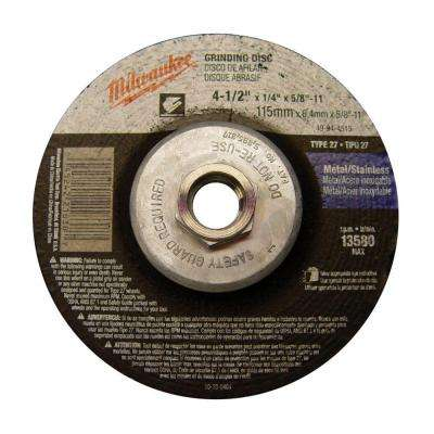 4-1/2 in. x 1/4 in. x 5/8-11 in. Grinding Wheel (Type 27)