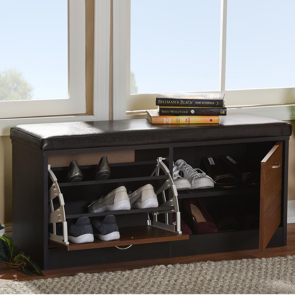 Baxton Studio Medium Brown Wood Bench
