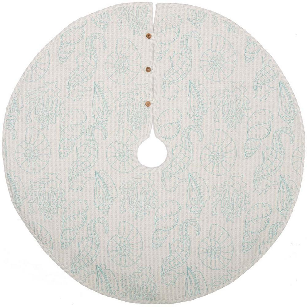 48 in. Arielle Bright White Coastal Christmas Decor Tree Skirt