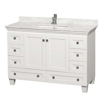 Acclaim 48 in. Vanity in White with Marble Vanity Top in Carrara White and Square Sink