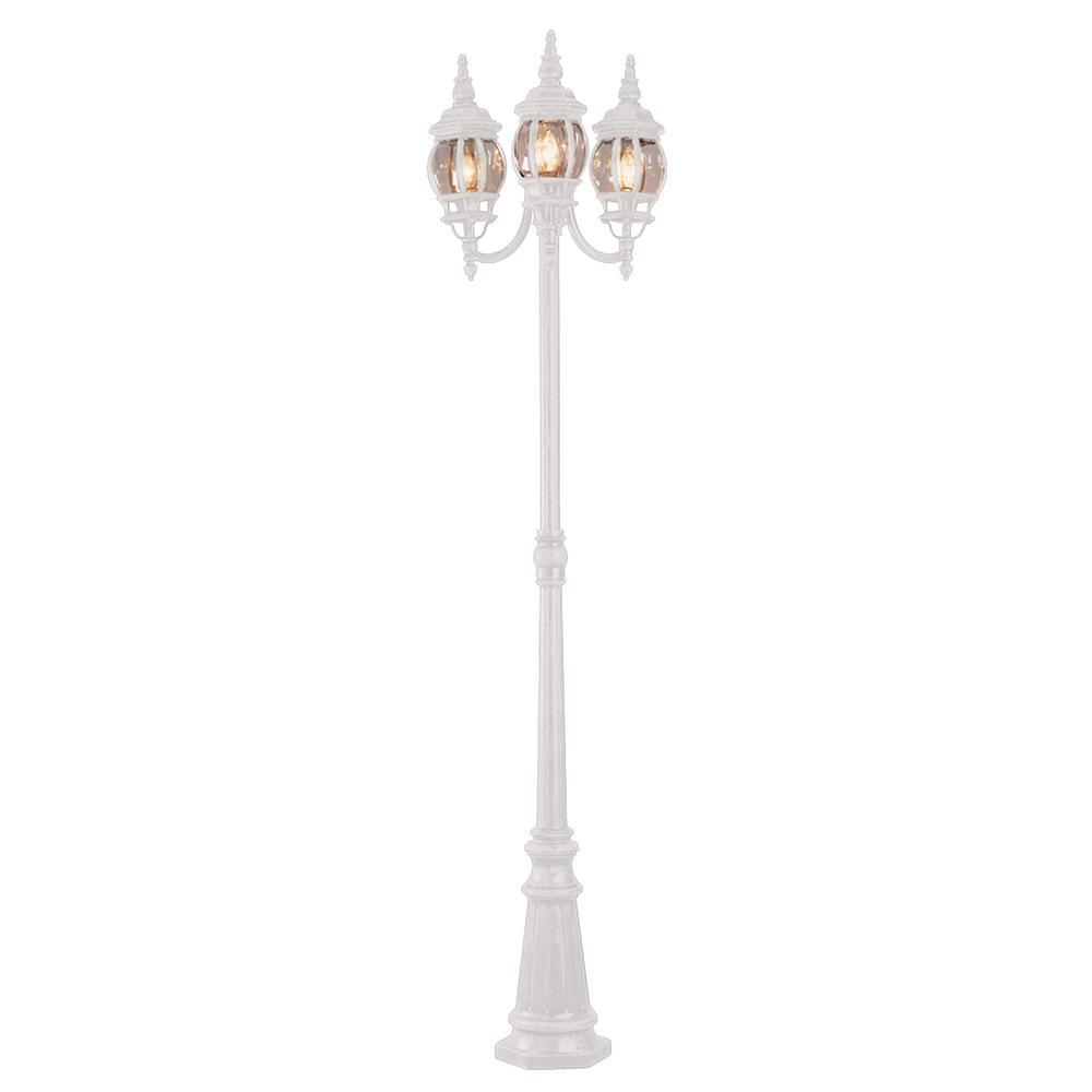 Bel Air Lighting Parkway 3 Light Outdoor White Lamp Post
