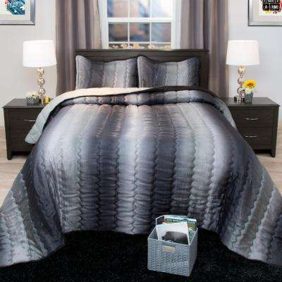 Striped 2-Piece Charcoal and Silver Metallic Twin Comforter Set