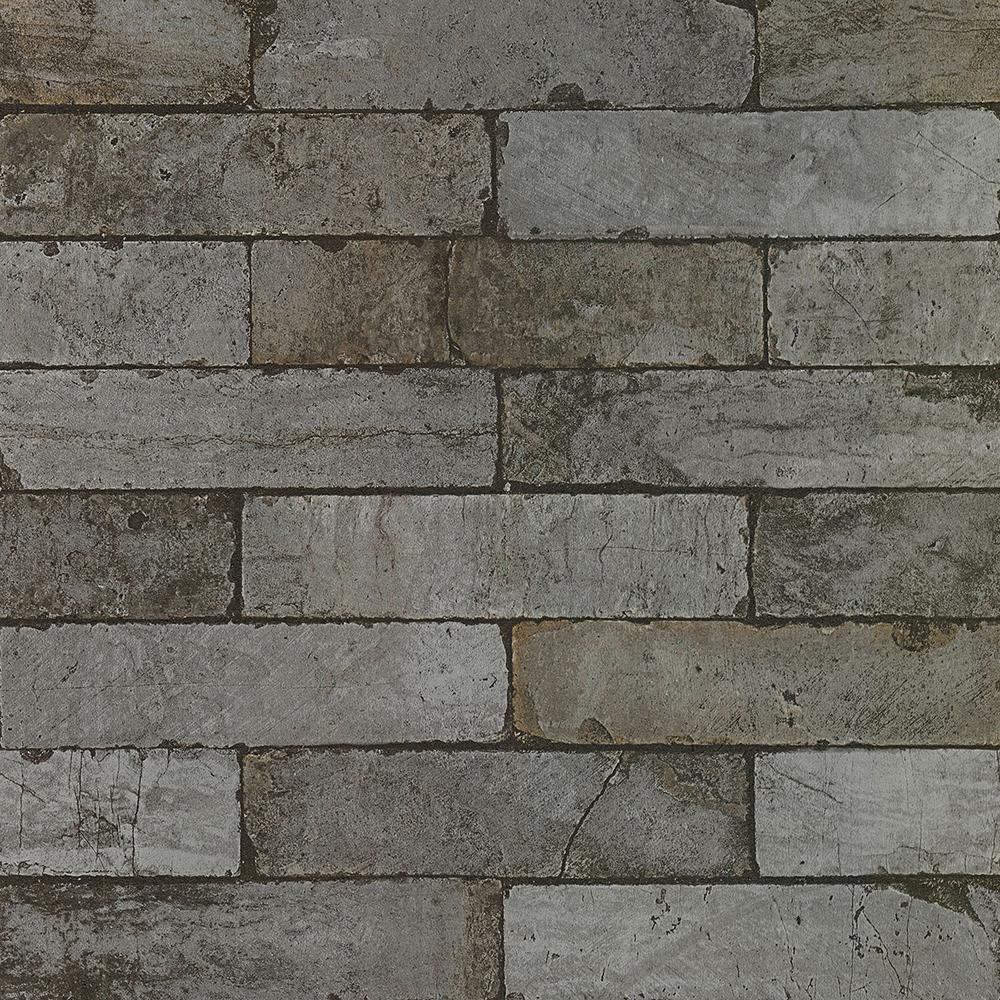 Dark Gray on Gray Toned Faux Brick Vinyl Wallpaper