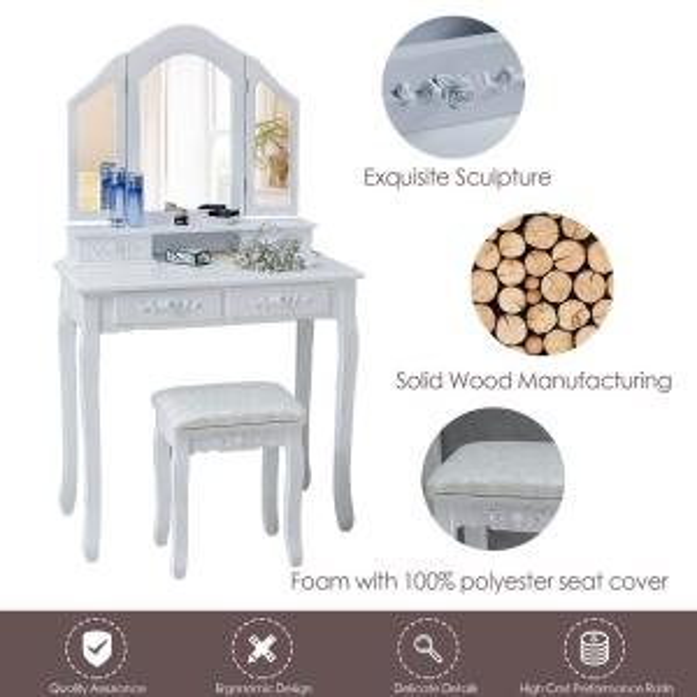 Boyel Living Vanity Set with White Cushioned Stools 3-Mirror ...