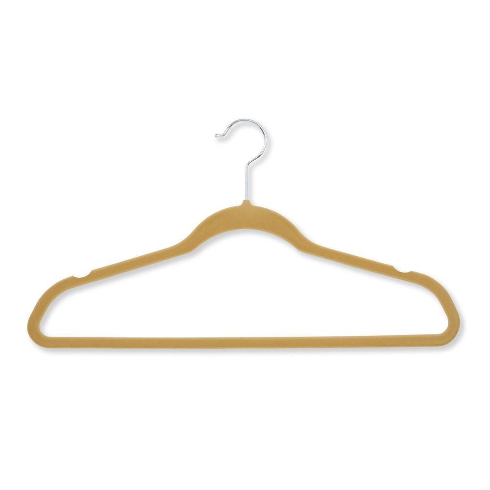 Honey-Can-Do Velvet Touch Tan Suit Hanger (20-Pack), Camel
