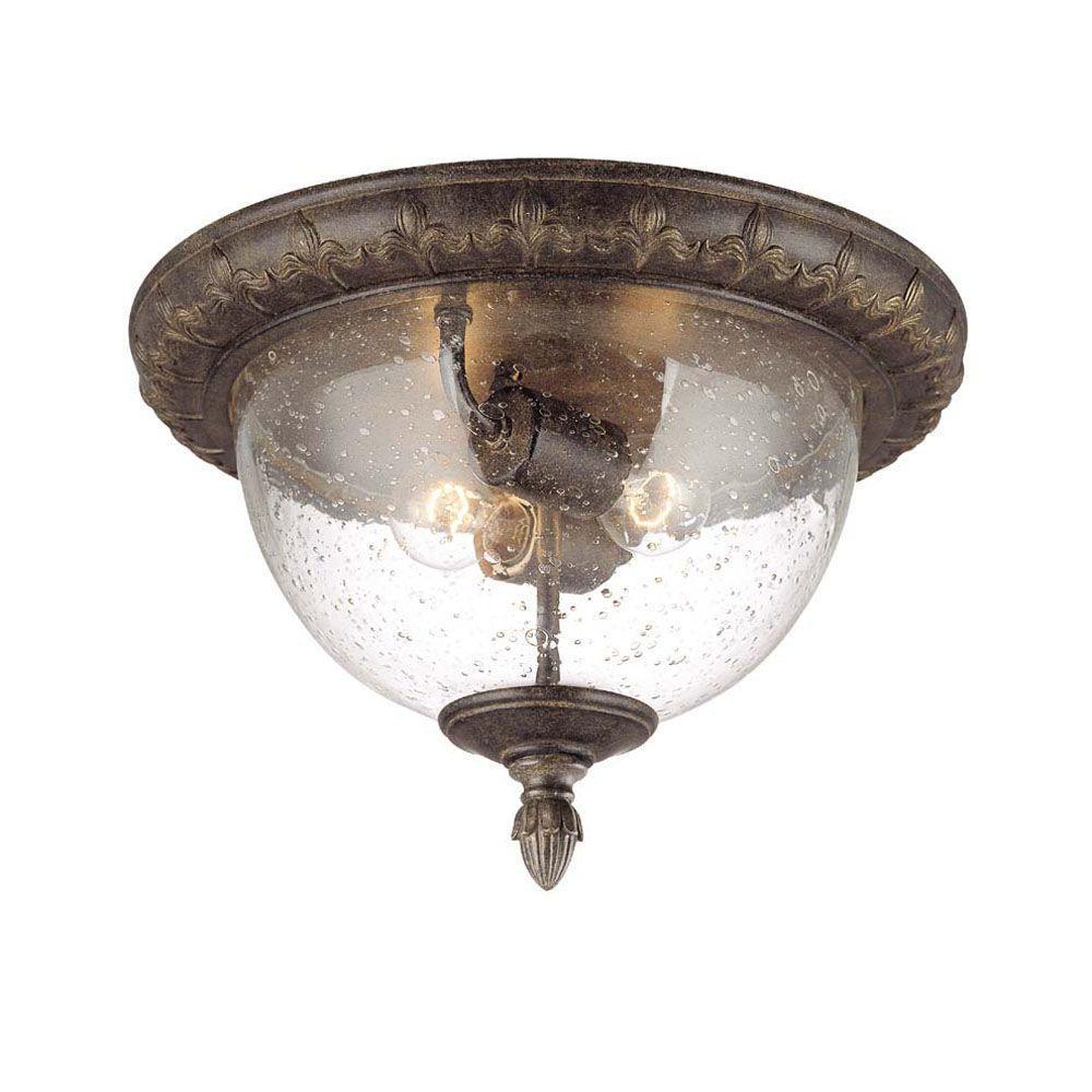 Acclaim Lighting Fleur de Lis Collection Ceiling-mount 2-Light Outdoor Black Coral Light Fixture