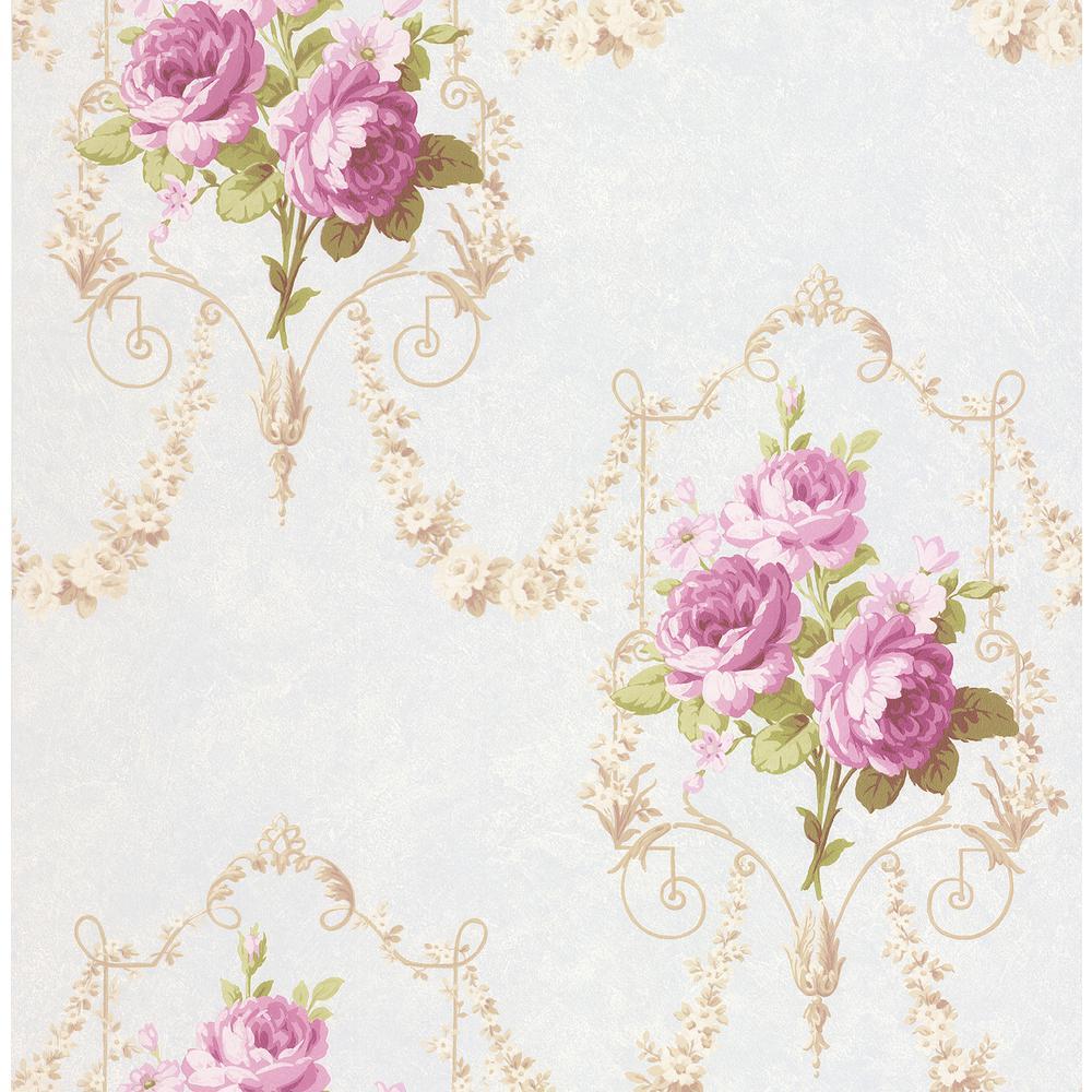 Olivia Lilac Floral Damask Wallpaper