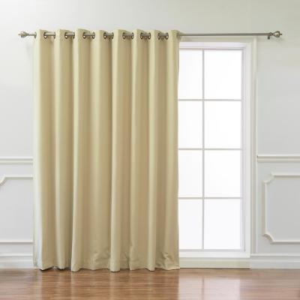 Wide Basic 100 in. W x 108 in. L Blackout Curtain in Beige