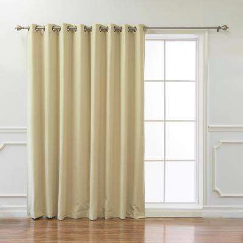 Wide Basic 100 in. W x 84 in. L  Blackout Curtain in Beige