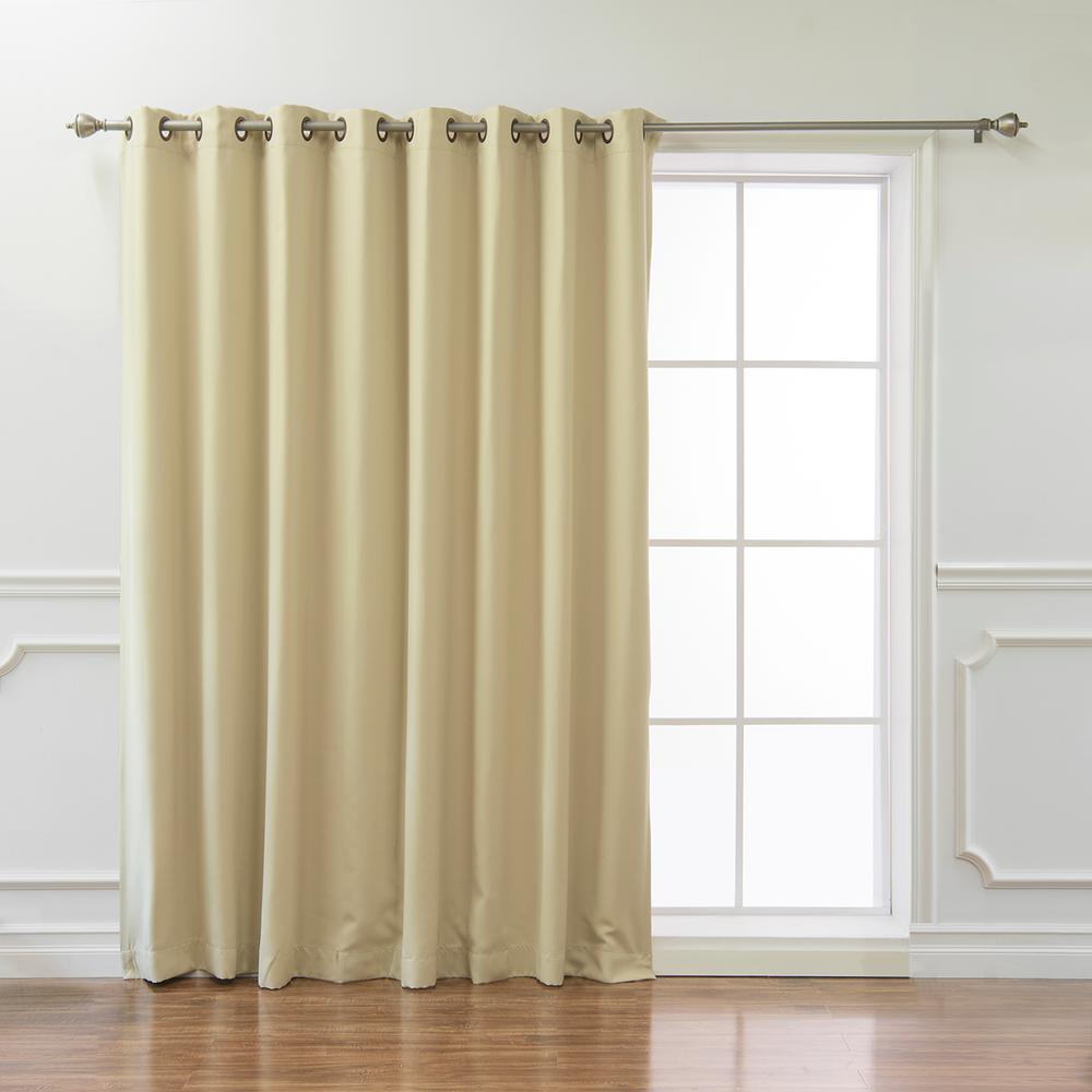 Wide Basic 100 in. W x 96 in. L Blackout Curtain in Beige