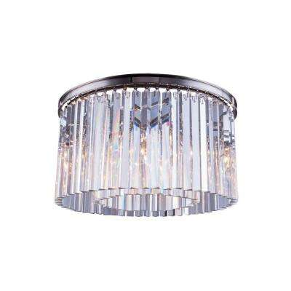 Sydney 8-Light Polished Nickel Flush Mount with Clear Crystal