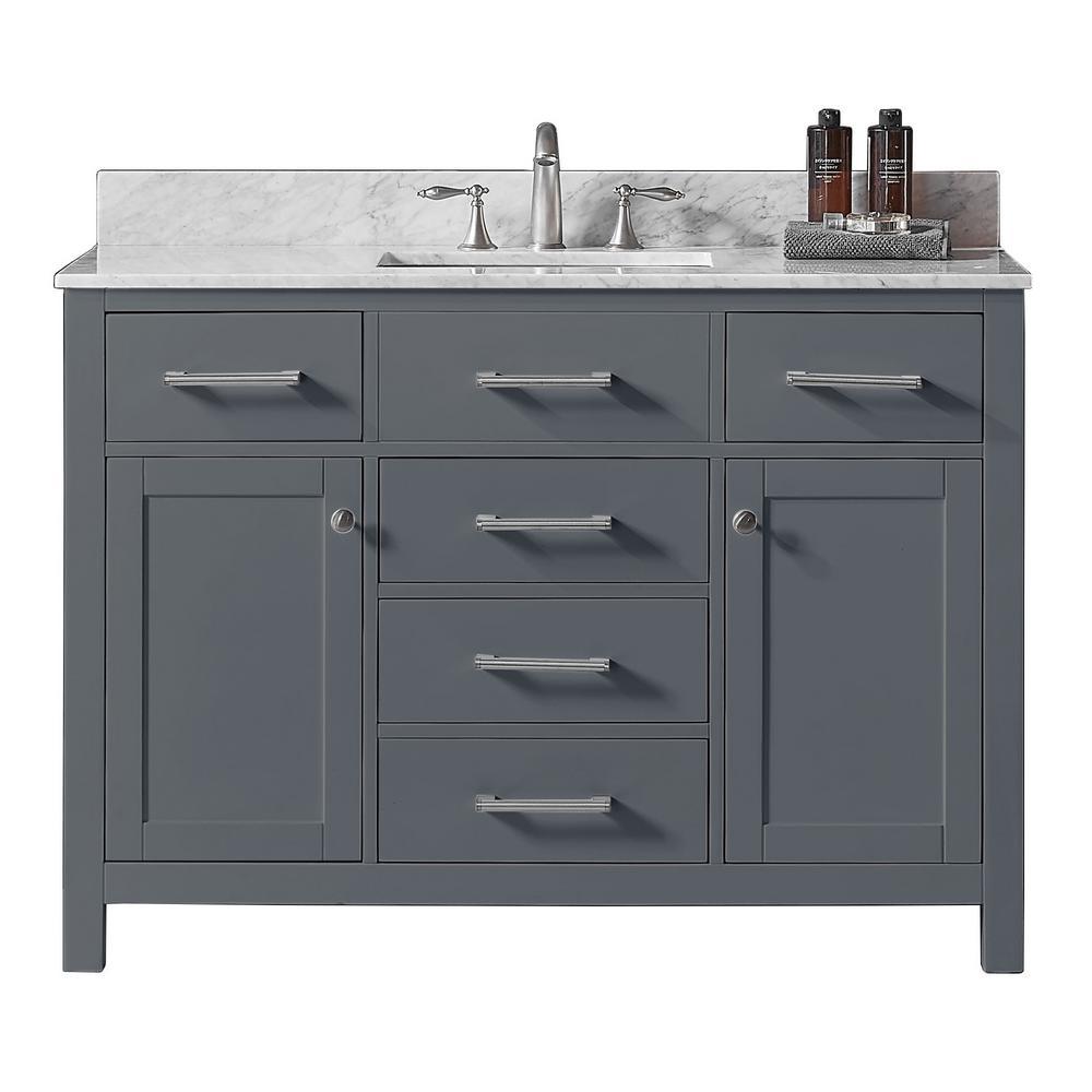 48 in. W x 22 in. D x 34.2 in. H Bath Vanity in Cashmere Grey w/ Carrara Marble Vanity Top in White w/ White Basin