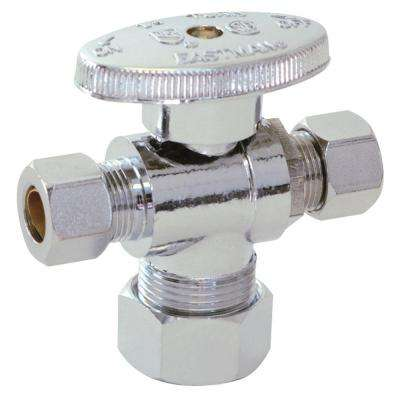 5/8 in. Compression x 3/8 in. Compression x 3/8 in. Compression Brass 1/4 Turn Dual Outlet Angle Stop Valve