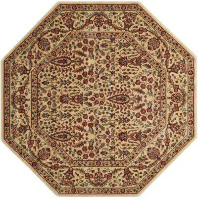 Persian Arts Ivory 5 ft. x 5 ft. Octagon Area Rug