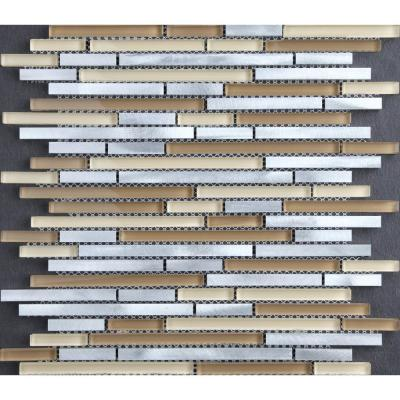 CHENX 11.81 in. x 13.38 in. Aluminum and Glass Mosaic Backsplash in Yellow/Silver (12.07 sq. ft./case)