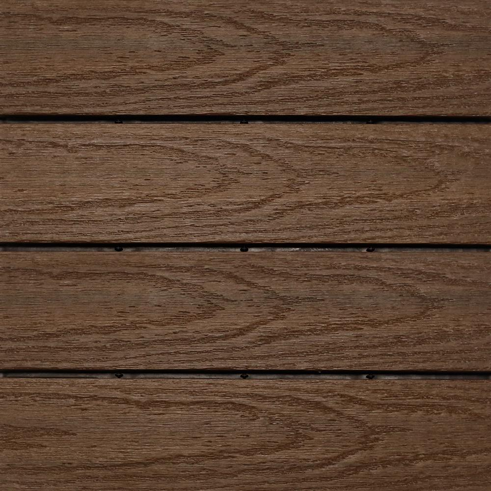 NewTechWood UltraShield Naturale 1 ft. x 1 ft. Quick Deck Outdoor Composite Deck Tile in Brazilian Ipe (10 sq. ft. per box)