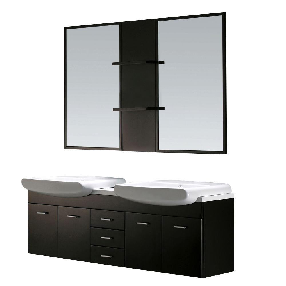 Vigo 59 in. Double Vanity in Espresso Matte Black with Laminate Vanity Top in White and Mirrors