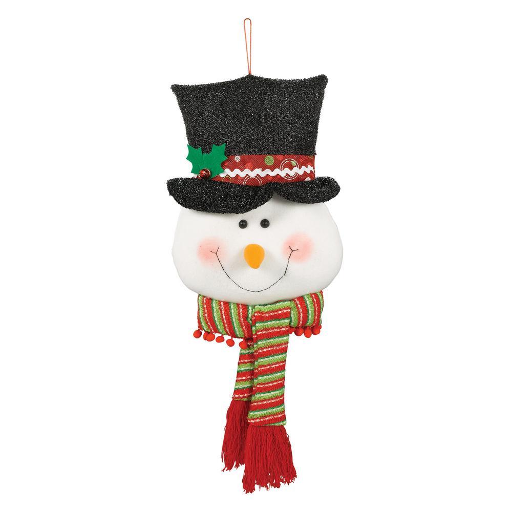 26 in. x 11 in. Christmas Snowman Plush Door Hanger