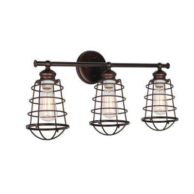 Ajax Collection 3-Light Textured Coffee Bronze Indoor Vanity Light