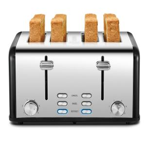 1650w 4-slice stainless steel long slot toaster