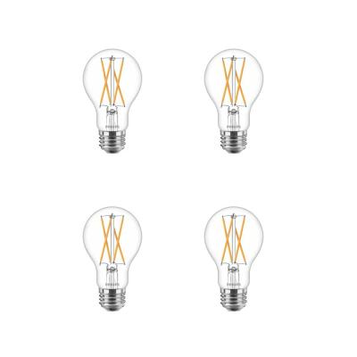 40-Watt Equivalent A19 Dimmable with Warm Glow Dimming Effect Clear Glass LED Light Bulb Soft White (2700K) (4-Pack)