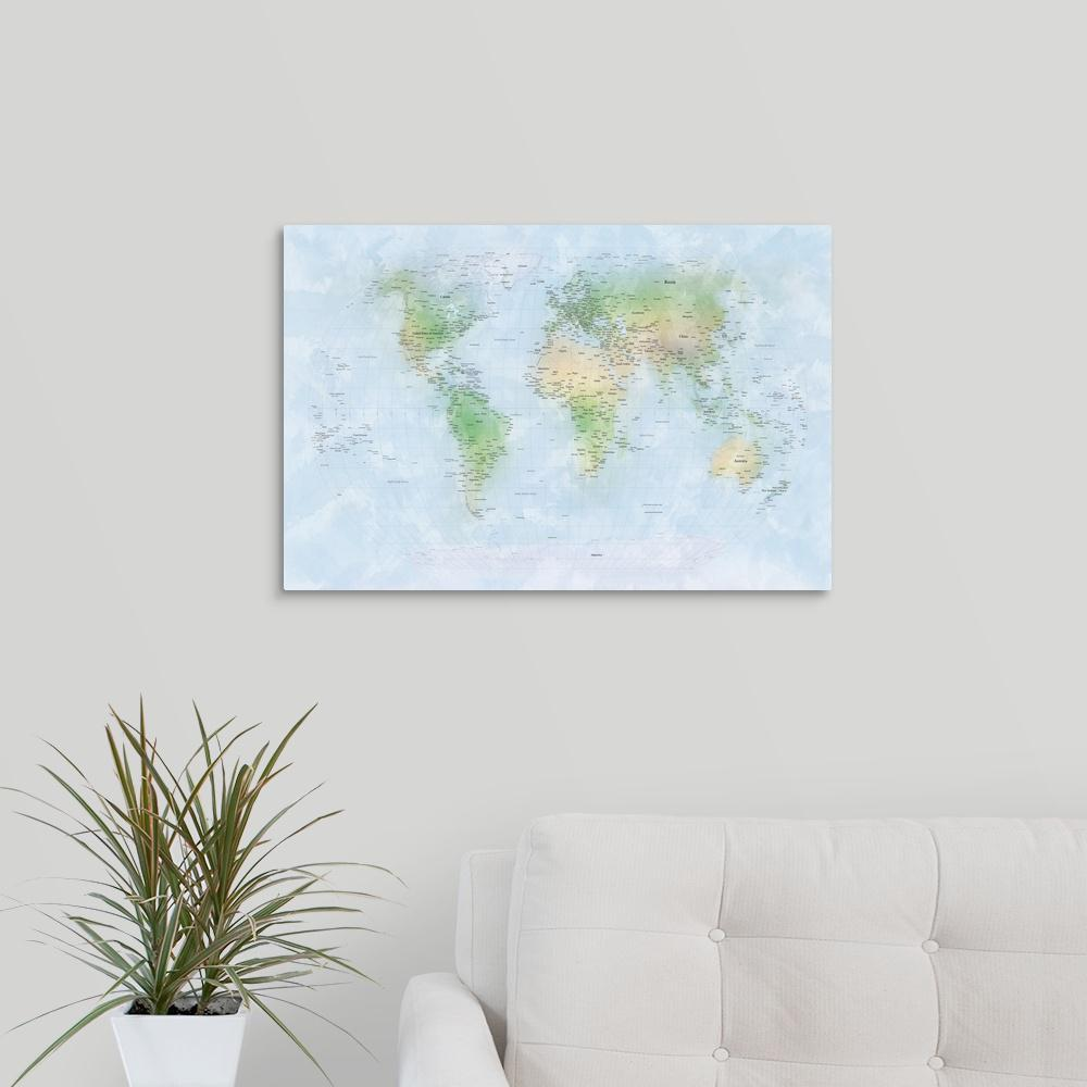 Greatbigcanvas Traditional World Map With City Names By Michael