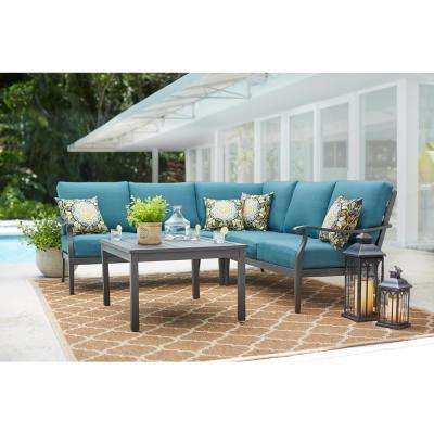 Riley 3-Piece Metal Outdoor Sectional Set with Charleston Cushions