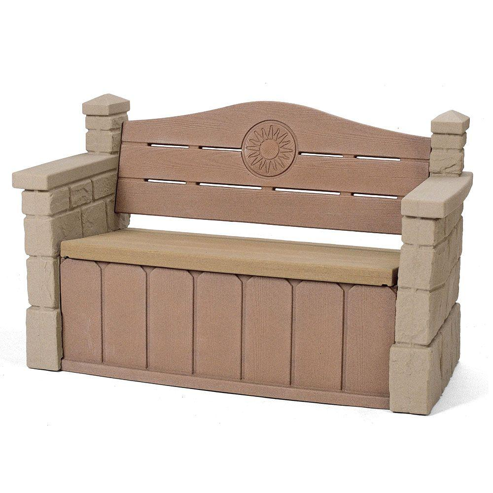 Step2 outdoor storage patio bench 5433kr the home depot for Outdoor furniture benches